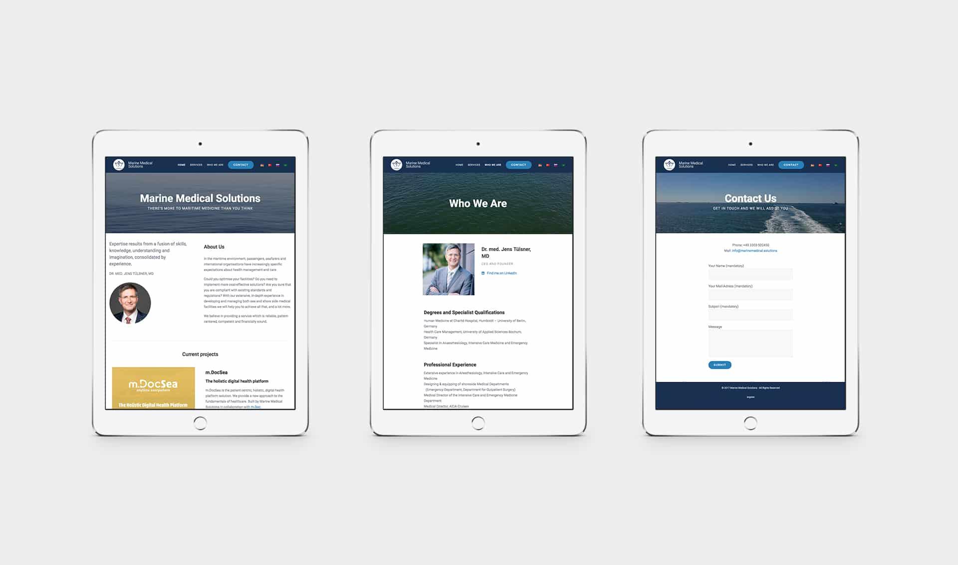 Marine Medical Solutions iPad Mockup deutsche Webseite