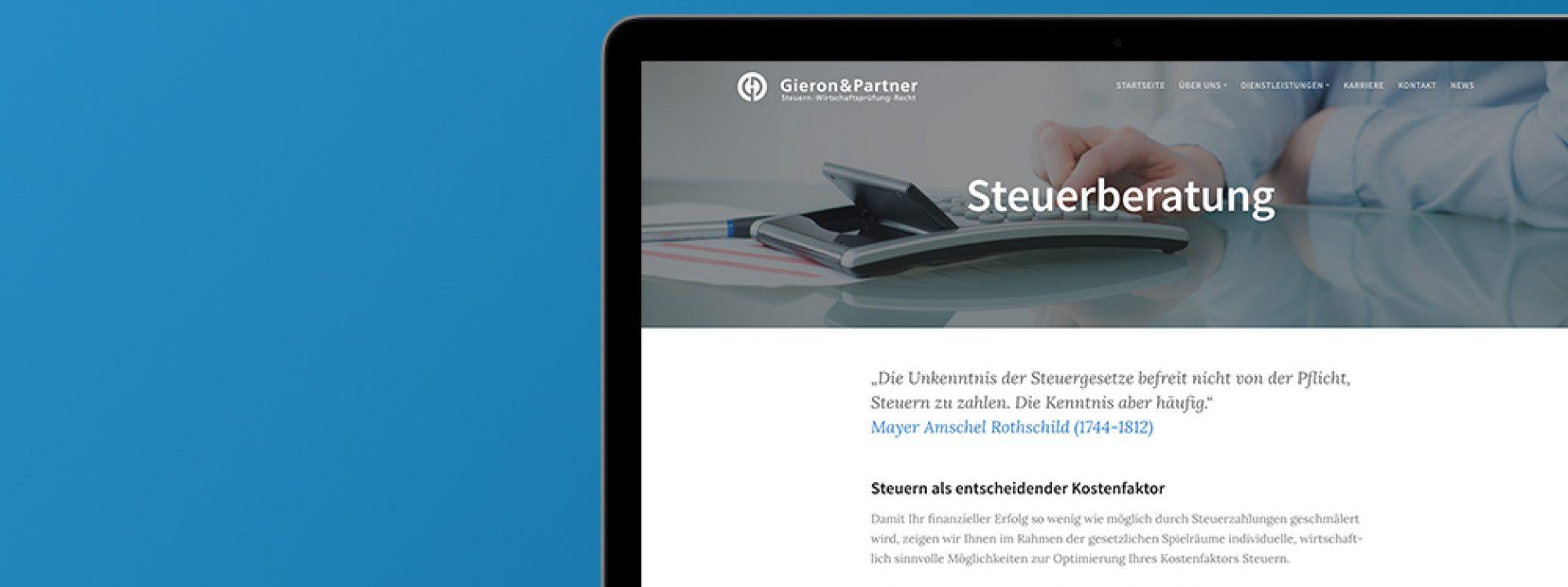 """Vorschau des Referenzprojekts """"Steuerkanzlei Gieron & Partner"""" der Berliner Werbeagentur und Internetagentur Dive Designs"""