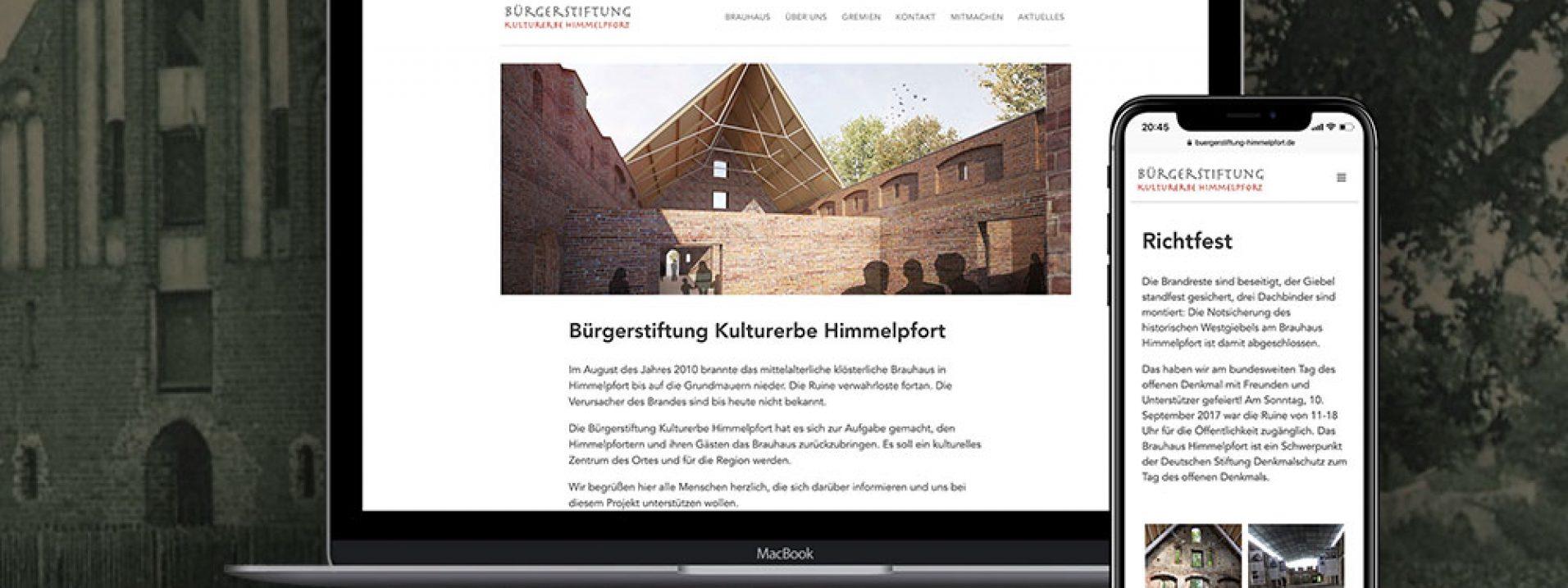 """Vorschau des Referenzprojekts """"Bürgerstiftung Kulturerbe Himmelpfort"""" der Berliner Werbeagentur und Internetagentur Dive Designs"""